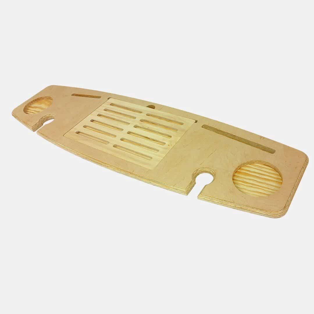 połka na wannę jasne drewno złożona