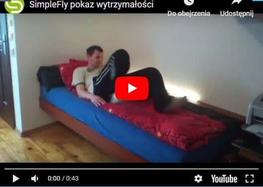 łóżko na natresoli wiszące test wytrzymałości