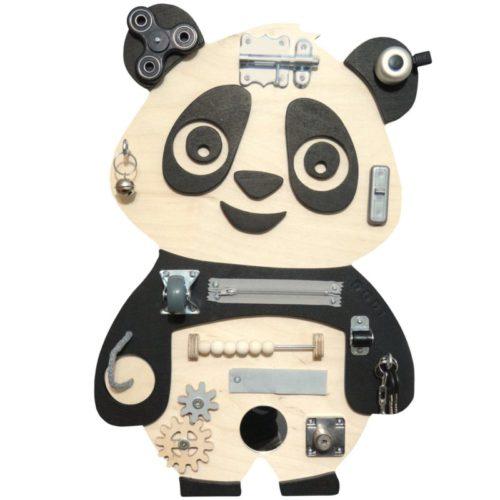 Tablica manipulacyjna Panda czarno-drewniana